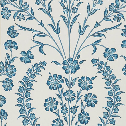 Chelwood Wallpaper in Blue and Ivory from the Ashdown Collection by Nina Campbell for Osborne & Little
