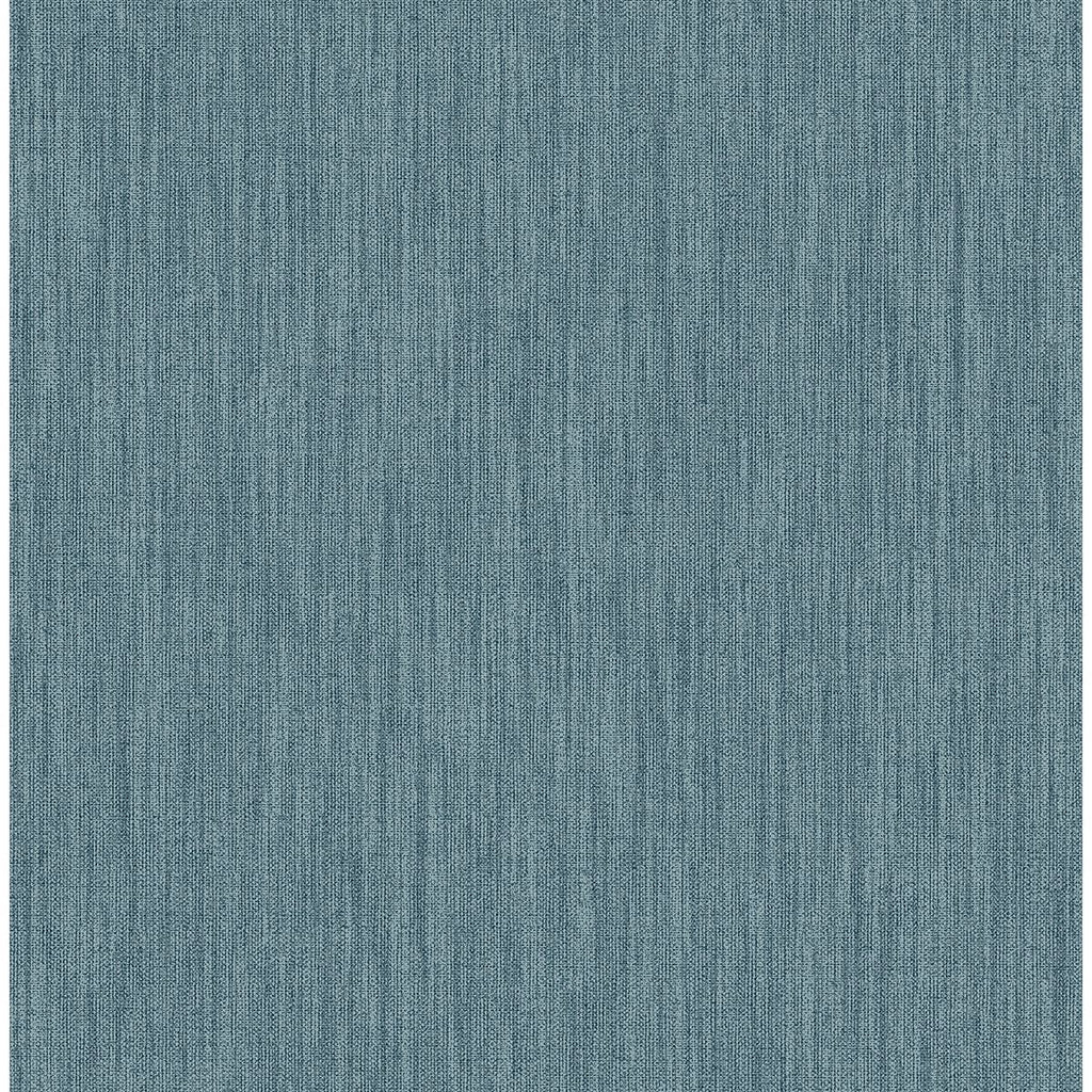 Chenille Faux Linen Wallpaper in Blue from the Bluebell Collection by Brewster Home Fashions