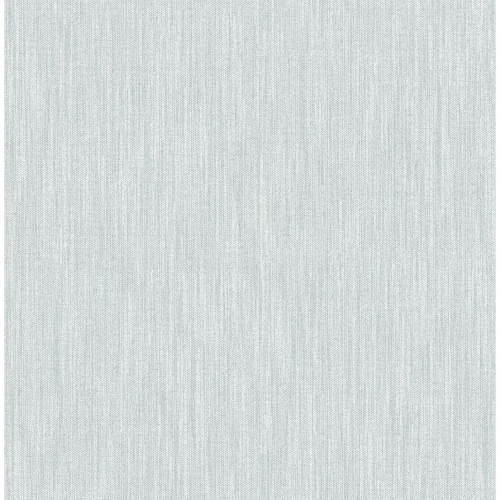 Sample Chenille Faux Linen Wallpaper in Light Blue from the Bluebell Collection by Brewster Home Fashions