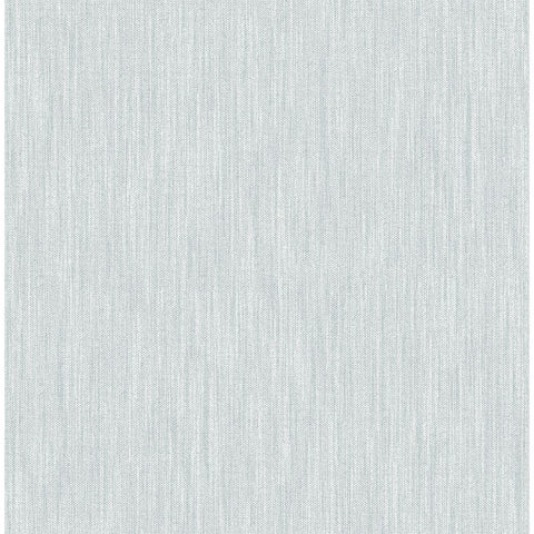 Chenille Faux Linen Wallpaper in Light Blue from the Bluebell Collection by Brewster Home Fashions