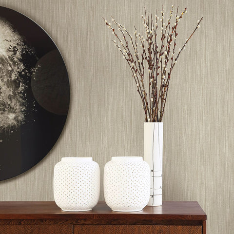 Chenille Faux Linen Wallpaper in Light Brown from the Bluebell Collection by Brewster Home Fashions