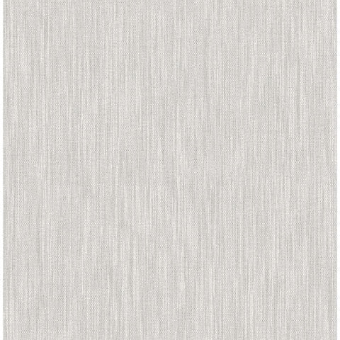 Chenille Faux Linen Wallpaper in Light Grey from the Bluebell Collection by Brewster Home Fashions