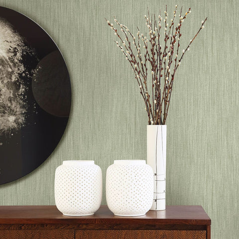 Chenille Faux Linen Wallpaper in Sage from the Bluebell Collection by Brewster Home Fashions
