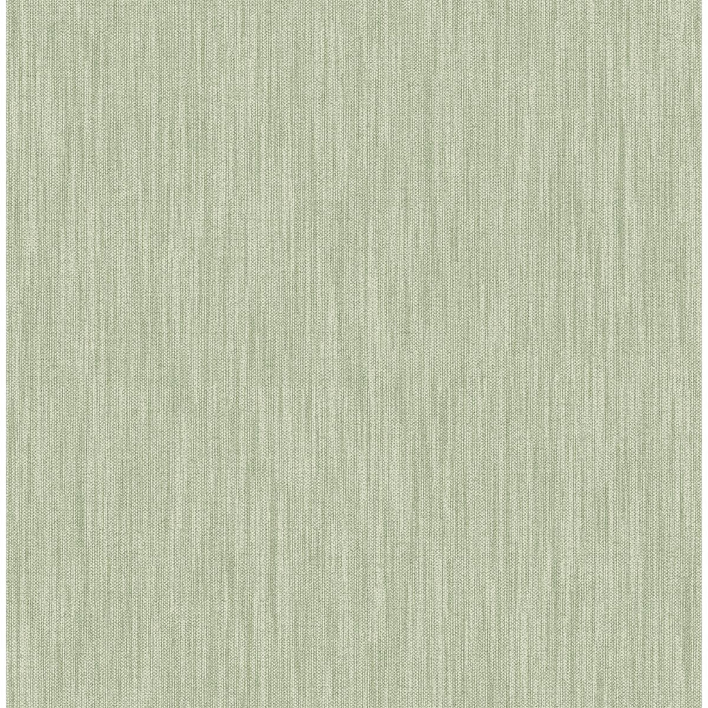 Sample Chenille Faux Linen Wallpaper in Sage from the Bluebell Collection by Brewster Home Fashions