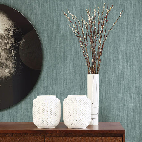 Chenille Faux Linen Wallpaper in Teal from the Bluebell Collection by Brewster Home Fashions
