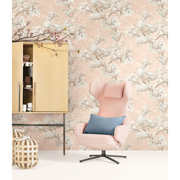 Cherry Blossom Wallpaper in Peach from the French Impressionist Collection by Seabrook Wallcoverings