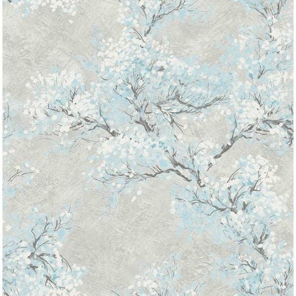 Sample Cherry Blossom Wallpaper in Grey and Blue from the French Impressionist Collection by Seabrook Wallcoverings