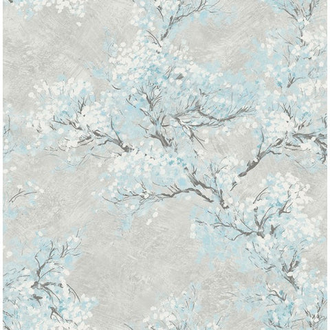 Cherry Blossom Wallpaper in Grey and Blue from the French Impressionist Collection by Seabrook Wallcoverings