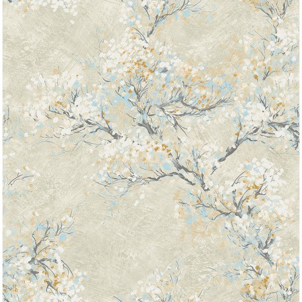 Sample Cherry Blossom Wallpaper in Tan and Blue from the French Impressionist Collection by Seabrook Wallcoverings