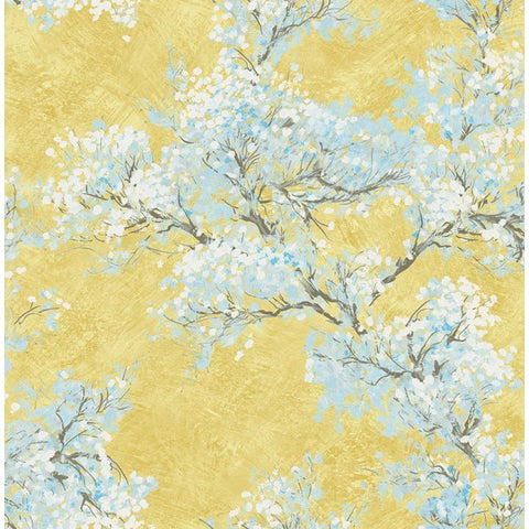 Cherry Blossom Wallpaper in Yellow and Blue from the French Impressionist Collection by Seabrook Wallcoverings