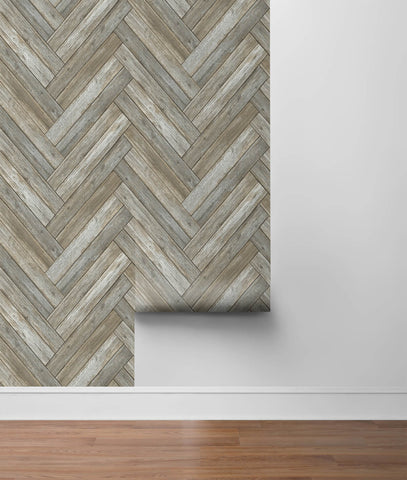 Chevron Wood Peel-and-Stick Wallpaper in Taupe and Beige by NextWall