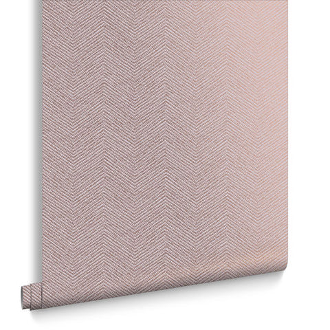 Chevron Texture Wallpaper in Pink and Bronze from the Exclusives Collection by Graham & Brown
