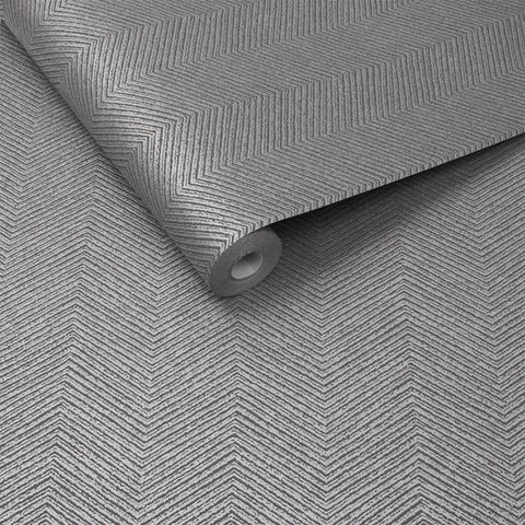 Chevron Texture Wallpaper in Silver from the Exclusives Collection by Graham & Brown
