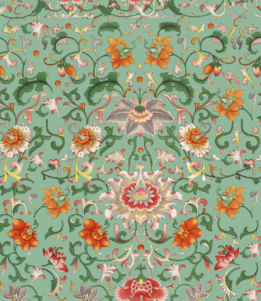 Sample Chinese Floral Wallpaper in Green and Orange from the Eclectic Collection by Mind the Gap