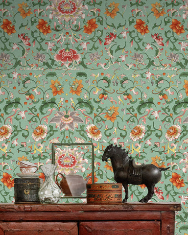 Chinese Floral Wallpaper in Green and Orange from the Eclectic Collection by Mind the Gap