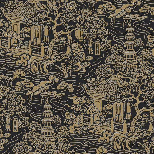 Chinoiserie Wallpaper In Black And Gold From The Tea Garden
