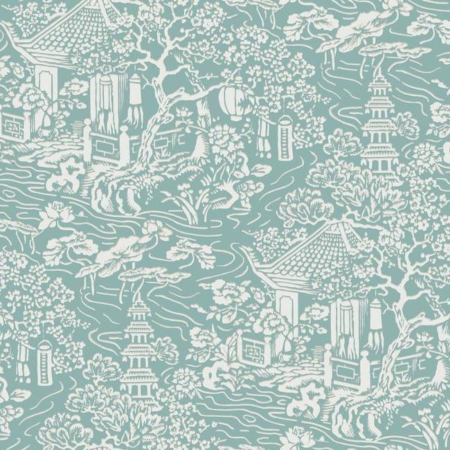 Chinoiserie Wallpaper In Blue Green From The Tea Garden Collection