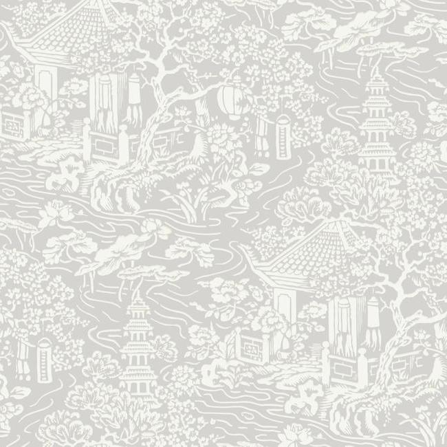 Chinoiserie Wallpaper in Grey from the Tea Garden Collection by Ronald Redding for York Wallcoverings
