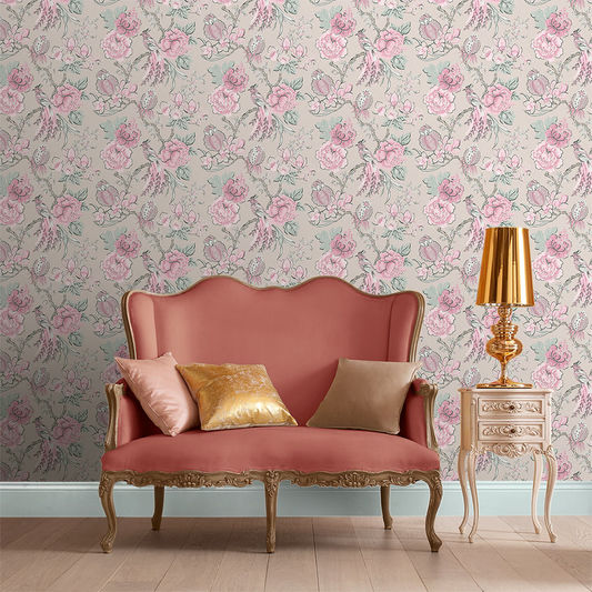 Chinoiserie Wallpaper in Pink Linen from the Exclusives Collection by Graham & Brown