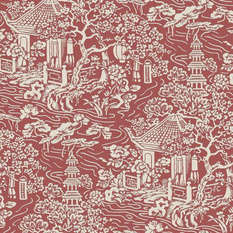 Chinoiserie Wallpaper in Red and Orange from the Tea Garden Collection by Ronald Redding for York Wallcoverings