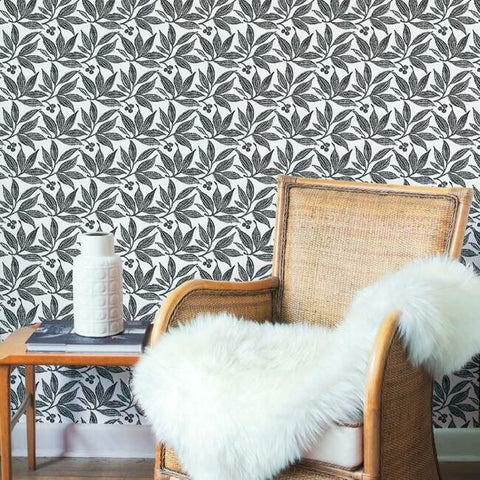 Chokeberry Block Print Wallpaper in Black and White from the Simply Farmhouse Collection by York Wallcoverings