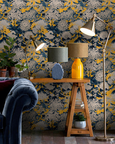 Chrysanthemums Wallpaper in Yellow and Blue from the Florilegium Collection by Mind the Gap.