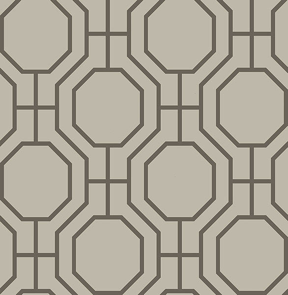 Sample Circuit Taupe Modern Ironwork Wallpaper from the Symetrie Collection by Brewster Home Fashions