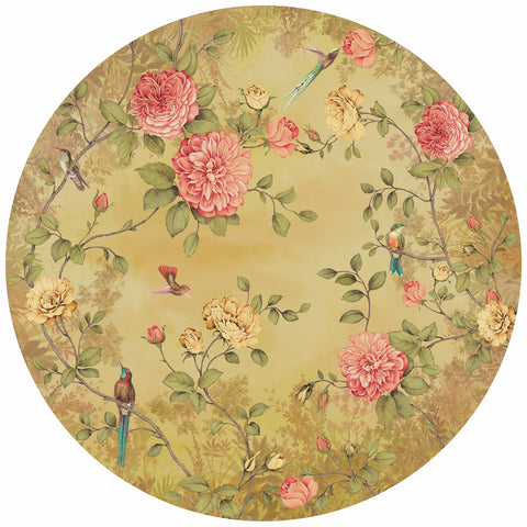 Circular Chinoiserie Wall Mural in Yellow by Walls Republic