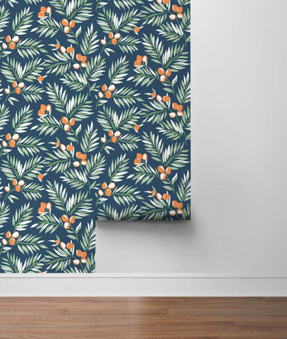 Citrus Branch Peel-and-Stick Wallpaper in Navy, Sage, and Orange by NextWall