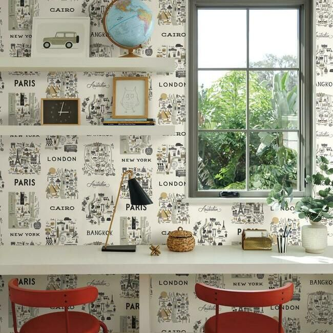 City Maps Wallpaper in Grey and Gold from the Rifle Paper Co. Collection by York Wallcoverings