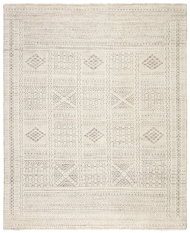 Jadene Hand-Knotted Geometric White & Light Gray Area Rug