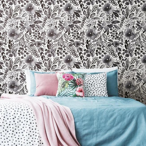 Clara Jean April Showers Peel & Stick Wallpaper in Black by RoomMates for York Wallcoverings