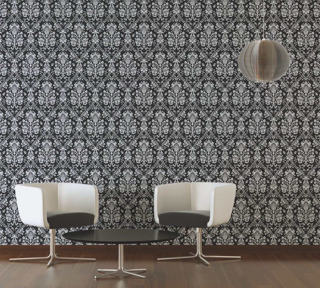 Classic Baroque Wallpaper in Black White and