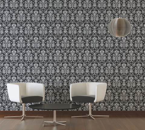 ... Classic Baroque Wallpaper In Black, White, And Metallic Design By BD  Wall
