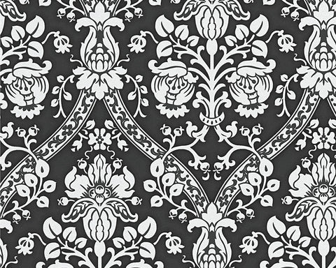 Classic Baroque Wallpaper in Black, White, and Metallic design by BD Wall