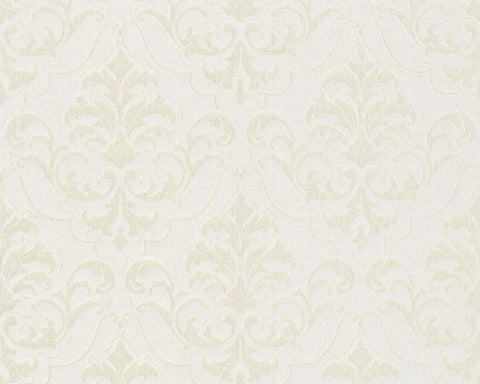 Classic Baroque Wallpaper in Cream, Metallic, and White design by BD Wall