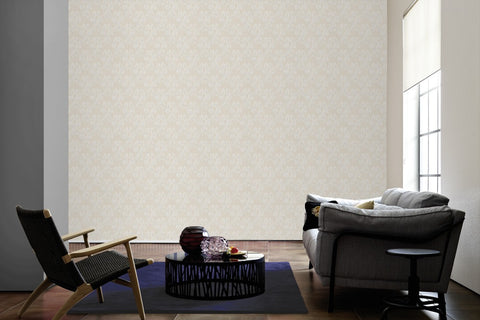 Classic Baroque Wallpaper in Cream and Beige design by BD Wall