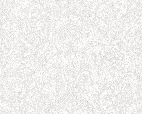 Classic Damask Wallpaper in Cream and White design by BD Wall