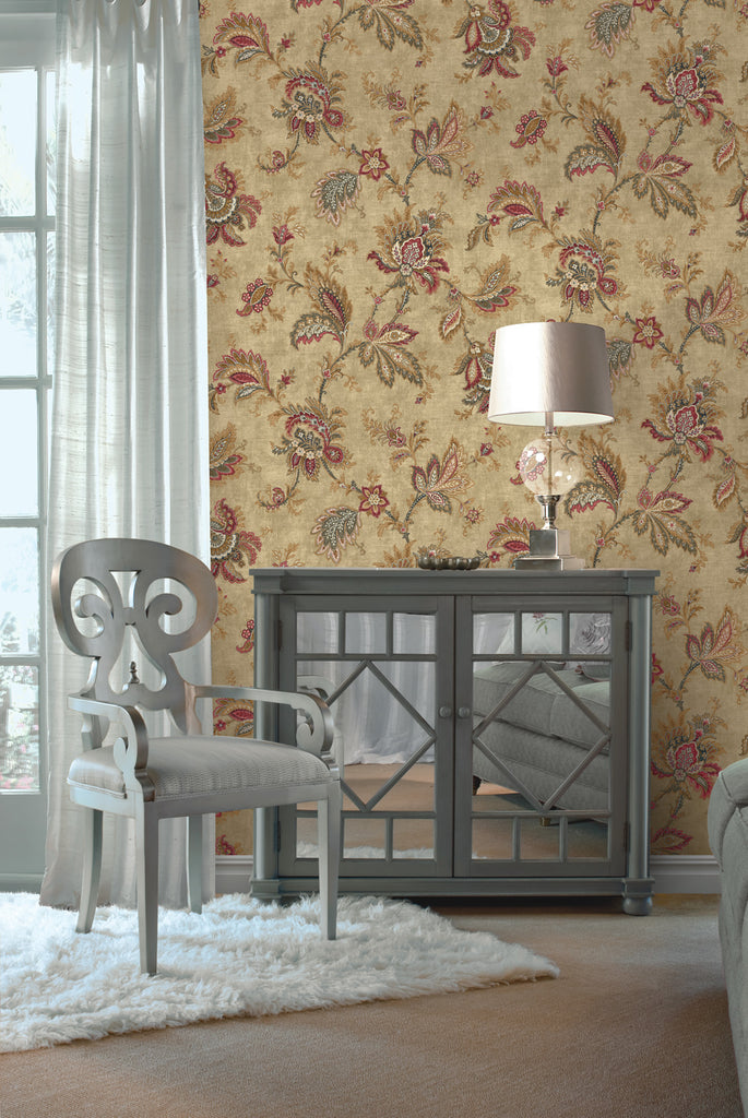 Classical Jacobean Wallpaper from the Caspia Collection by Wallquest