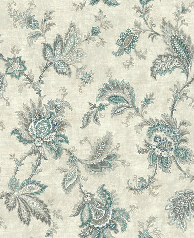 Classical Jacobean Wallpaper in Green and Silver from the Caspia Collection by Wallquest