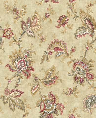 Classical Jacobean Wallpaper in Red and Gold from the Caspia Collection by Wallquest