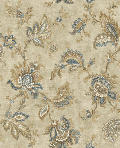 Classical Jacobean Wallpaper in Warm Blue from the Caspia Collection by Wallquest