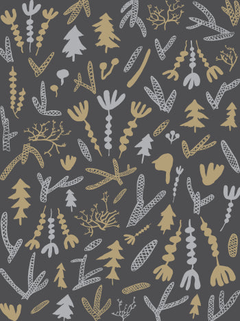 Cle Elum Wallpaper in Charcoal, Silver, and Gold design by Juju