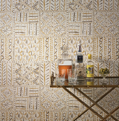 Cloisters Wallpaper in Ochre and Tobacco from the Ashdown Collection by Nina Campbell for Osborne & Little