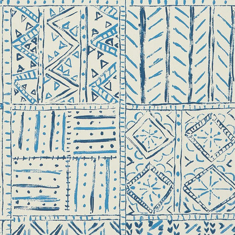 Cloisters Wallpaper in Indigo and Blue from the Ashdown Collection by Nina Campbell for Osborne & Little