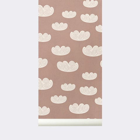 Sample Cloud Kid's Wallpaper in Rose design by Ferm Living