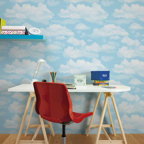 Cloud Nine Wallpaper in Blue from the Kids Collection by Graham & Brown