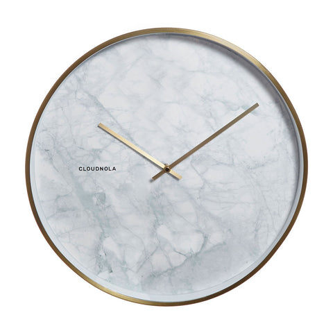 Structure White Marble Wall Clock