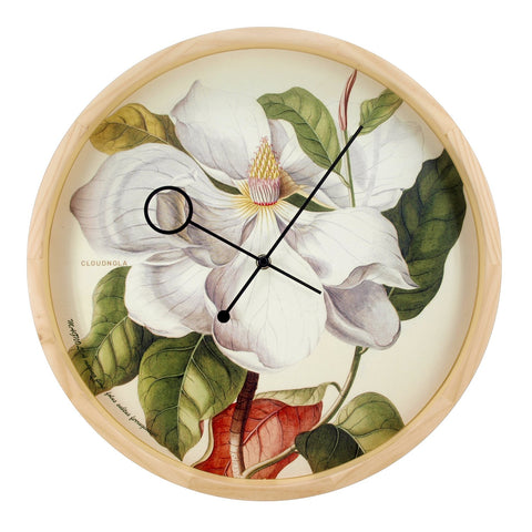 Botanical Magnolia Wall Clock