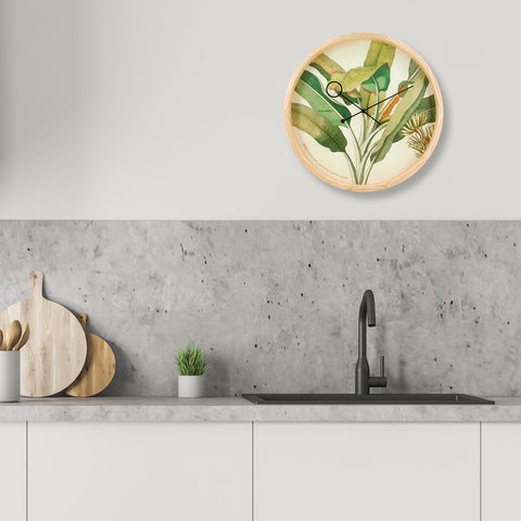 Botanical Palm Wall Clock